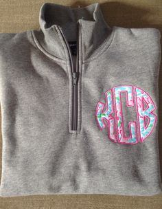 Monogrammed 1/4 zip sweatshirts with Lily pulitzer fabric appliques. by Caddybug on Etsy https://www.etsy.com/listing/211358896/monogrammed-14-zip-sweatshirts-with-lily