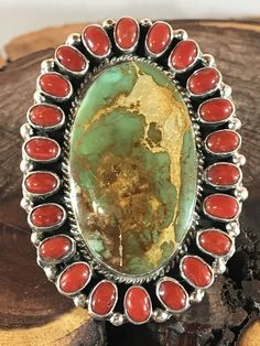 NAVAJO -HUGE ~GREEN ROYSTON TURQUOISE~RED CORAL ~STERLING ~RING~GERALDINE JAMES  | eBay
