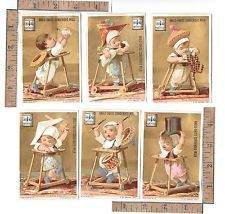 SET 6 ANGLO SWISS CONDENSED MILK BABY DOLL SWORD DRUM TODDLER ADV. TRADING CARD