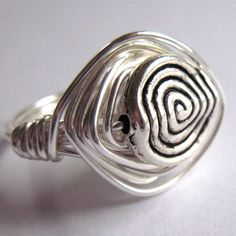 Wire Wrapped Ring Antiqued Silver Handmade by gimmethatthing, £9.50