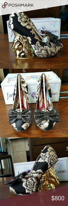 Irregular Choice Trixy Black Floral Gold Unicorn Irregular Choice Trixy Black Floral Gold Unicorn heels.  I am a true size 8 and these fit great.  I love these shoes just not sure I will have a chance to wear them.  Please feel free to make an offer if interested. Irregular Choice Shoes Heels