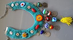 Otantik kolye#glassbead#neclase Fabric Necklace, Fabric Jewelry, Diy Jewelry, Beaded Jewelry, Jewelery, Handmade Jewelry, Jewelry Design, Jewelry Making, Crochet Chocker