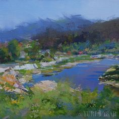 Oil Painting Water  Landscape Wall Art  Spring Nature by Yuri Pysar | Гірський пейзаж картина, художник Юрій Писар