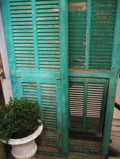 LOVE the colour French vintage louvered shutters Indoor Shutters, Louvered Shutters, Comfy Cozy Home, Shades Of Turquoise, Aqua Blue, Vintage Shutters, Home Garden Design, Shutter Doors, Architectural Antiques