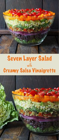 Seven Layer Salad with Creamy Salsa Vinaigrette - this fresh, no gloppy-layers-of-mayo salad is a showstopper on your table (and healthy, too). Recipe at SoupAddict.com #salads #rainbow #sevenlayersalad #vegetarian
