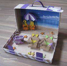 Reisekoffer Koffer mit Strandmotiv Feriengutschein Reisegutschein