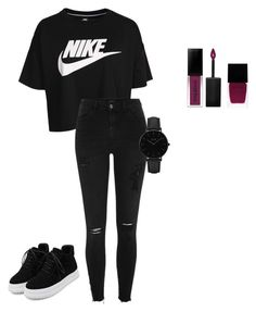 """""""all black"""" by misell28 on Polyvore featuring NIKE, River Island, WithChic, Smashbox, Witchery and CLUSE"""