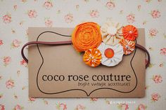 rosette and yo yo headband in peachy orange by cocorosecouture
