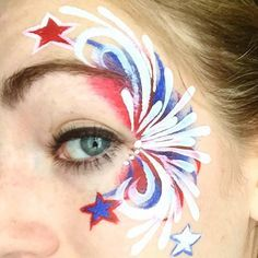 Here's a close up of my Fourth of July face paint I forgot to post up! - Here's a close up of my Fourth of July face paint I forgot to post up! Girl Face Painting, Face Painting Designs, Painting For Kids, Face Paintings, The Face, Face And Body, 4th Of July Party, Fourth Of July, July Crafts