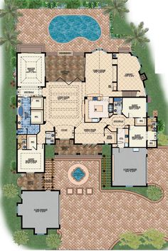 First Floor Plan of Coastal Contemporary Florida Luxury Mediterranean House Plan 71501