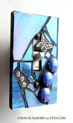 Fairy Tale Blue  HANDMADE Single Mosaic Light by MOSAICSnMORE