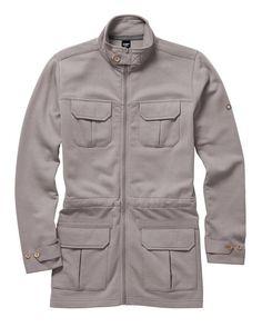 Cotton Traders Unisex Cargo Jersey Jacket Pale Taupe Grey Long Sleeve Coat Jacket