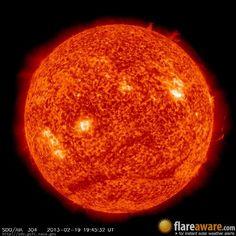 The hourly sun (at 07:45 pm  UTC on 19 February 2013)