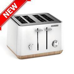 Scandi White Aspect 4 Slice Toaster (wooden trim)