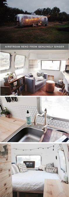 (Camper) Design Vibes: Ever thought about traveling the country in a silver bullet? Tour this Modern Eclectic Airstream Renovation from Genuinely Ginger! Airstream Living, Airstream Campers, Airstream Remodel, Airstream Renovation, Airstream Interior, Vintage Campers Trailers, Remodeled Campers, Travel Trailers, Airstream Decor
