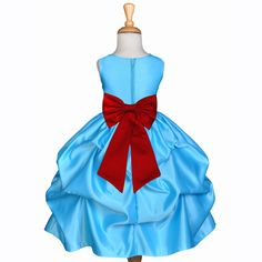 Turquoise Pick-up Satin Flower Girl Dress Princess Bridesmaid Beauty Pageant Holiday Special Occasions 208T