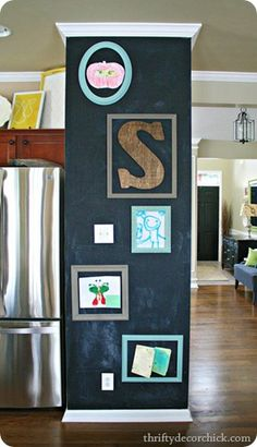magnetic kitchen chalkboard --- this looks like how the middle pipe and brick thing could be wrapped ... this is that magnetic chalkboard paint ... very cool !!!