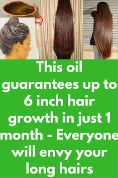 This oil guarantees up to 6 inch hair growth in just 1 month - Everyone will envy your long hairs Most girls usually ask me how to achieve rapid hair growth. First let me say that it is all natural process and takes its own time. But There are certain ways that can stimulate this process and make your hair grow fast. Today we will tell you that ingredients that will surely increase your rate …