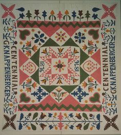 Possibly Gertrude Knappenberger   Possibly Emmaus, Pennsylvania  Dated 1876  Cotton with cotton embroidery  82 1/2 x 74 1/2 in.  American Folk Art Museum, gift of Rhea Goodman, 1979.9.1