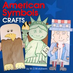 American Symbols (Statue of Liberty, Uncle Sam, Bald Eagle) Crafts and Writing Papers are a fun addition to your social studies lessons. Each craft is designed to be easy to color and cut.