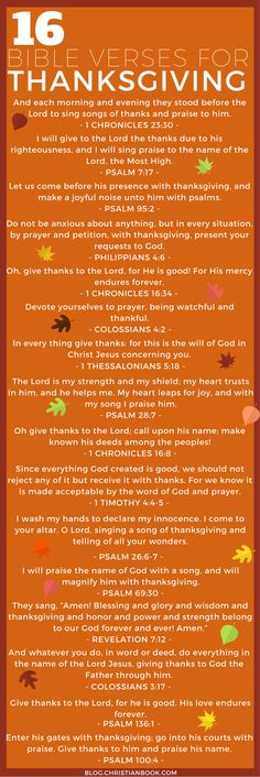 Thanksgiving is a time for reflecting on all things we are thankful for, and as Christians, we have the greatest reason of all to be thankful – being saved by the grace of Jesus Christ. We've selected a few Bible verses to help you give thanks and praise through the Thanksgiving holiday.
