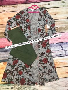 Lularoe floral Sarah Cardigan paired with Olive green leggings