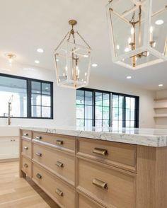 25 Ideas For Natural Wood Kitchen Island Interior Design Wood Interior Design, Home Interior, Kitchen Interior, Interior Windows, Exterior Design, Home Decor Kitchen, New Kitchen, Home Kitchens, Kitchen Ideas