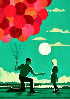Joey Guidone - Effective Altruism. Editorial, Surrealism, Pop Surrealism, Conceptual, Design, Poster, Advertising, Selflessness, Generosity, Open hand, Love, Humanity, Kindness, Balloons, Girl