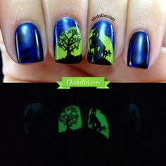 Glow-in-the-Dark Haunted House Halloween Nail Art - Chickettes