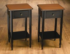 AA Importing Single Drawer End Table in Distressed Black (Set of 2)