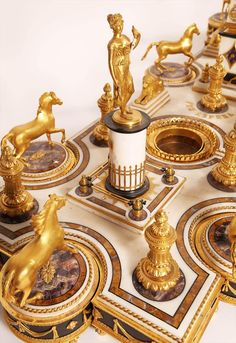 Italian Empire Gilt Bronze and Marble Surtout de Table, early 19th century - detail.