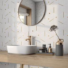 Calacatta Gold Marble, Marble Mosaic, Stone Mosaic, Mosaic Glass, Timeless Bathroom, Modern Master Bathroom, Gold Bathroom, Bathroom Inspo, Small Bathroom
