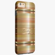 iPhone 6 Plus Cases | Metallic Gold And Copper Stripes Pattern Monogram Tough iPhone 6 Plus Case