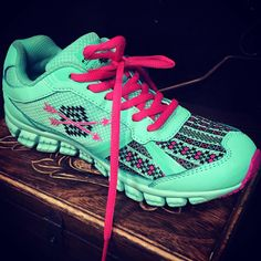 Follow Your Arrow Mint and Pink Aztec Athletic Shoes $64.95 WWW.GUGONLINE.COM