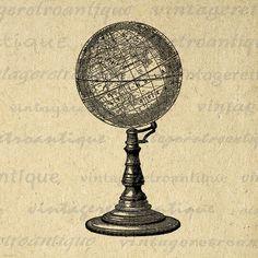 Antique Globe Digital Image Download Map Graphic Globe