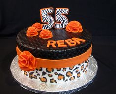Zebra and leopard print cake for a fashionista. By thecakeattic.com in Salisbury, NC www.facebook.com/thecakeattic