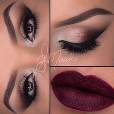 nighttime makeup  dark lipstick - so cute!
