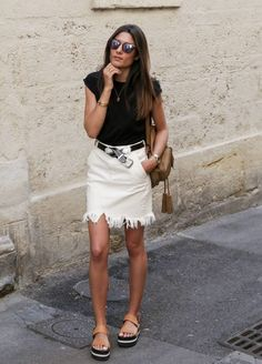 frayed denim skirt 2017 with black top 2017