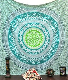Mesmerizing medallion tapestry crafted in soft woven cotton. Instantly adds a unique touch of boho charm to any living space or dorm room. Doubles as a beach or picnic blanket and is festival-friendly, too!**And yes, this is the same tapestry s. Dorm Tapestry, Bohemian Tapestry, Mandala Tapestry, Bohemian Decor, Boho, Tapestries, Happy Friday, Shabby Chic Spiegel, Beach Bedspreads