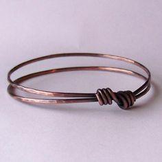 Stackable Copper Bangle - Hammered Copper Bangle Bracelet - ECHO - Made to Order. $12.00, via Etsy.