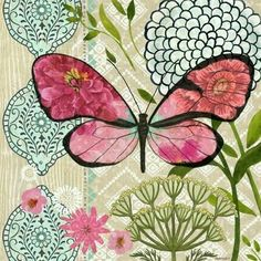 Pink Flower Butterfly Dream by Jennifer Brinley Red Butterfly, Butterfly Painting, Butterfly Wallpaper, Butterfly Cards, Butterfly Print, Decoupage Vintage, Decoupage Paper, Collage Art, Collages