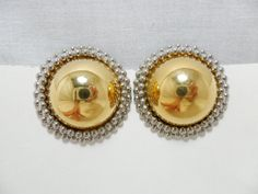 Vintage Earrings Silver & Gold Tone Metal Button by KathiJanes, $16.95