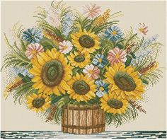 <3Sunflowers counted cross stitch