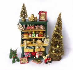Charming Miniature Christmas Kitchen Cabinet for your Dollhouse by DinkyWorld at Etsy