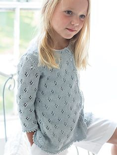 HYACINTH from Little Rowan Blossom (ZB203). A collection for girls aged 3 to 6 years, featuring 15 designs by Linda Whaley | English Yarns