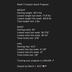 NOTE: Week 11 was flawless. Diet was on point all 7 days plenty of walking and reached a new level of discipline when going out with friends. Looking forward to accelerating my Fat Loss now that I'm able to run.  I'm sharing my 1 year Sixpack Quest  all the behind the scenes action on my Snapchat so make sure you download the app and add me under ROBERTNAVARRO87 to see: My nutrition My training My challenges My motivations  My thoughts My day to day life!  My goal is to get a Sixpack by…