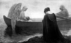 "I stumbled on this painting ""To the Unknown Land,"" by Edmund Blair Leighton and find it so comforting. A grieving mother weeps on the shore as an angel safely carries away her child. Isn't it stunn..."