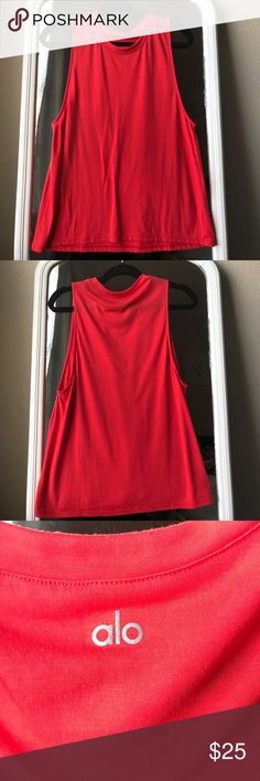 ALO YOGA red/orange Muscle Tank ALO YOGA red/orange Muscle Tank, Size L, perfect condition, WORN ONCE ALO Yoga Tops Tank Tops
