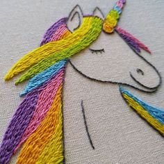 37 ideas for embroidery hoop art unicorn Hand Embroidery Projects, Machine Embroidery Applique, Hand Embroidery Stitches, Crewel Embroidery, Embroidery Hoop Art, Hand Embroidery Designs, Embroidery Techniques, Cross Stitch Embroidery, Contemporary Embroidery