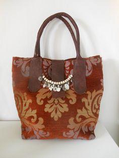Boho tas, Leer met stof. JANET Handgemaakte tassen op FB.